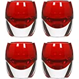 Hosley's Set Of 4 Red Chunky Glass Tea Light Holders - 3 High By Hosley International