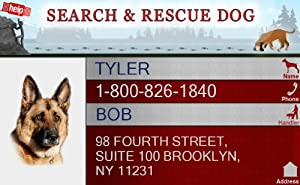 "PERSONALIZE Dean & Tyler ""SEARCH & RESCUE #2"" ID Badge Bundle - 1 Handler's Custom ID Badge - 1 Dog's Custom ID Badge - Design#2 - Horizontal."