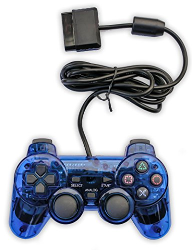 Old Skool PS2 Analog Controller Dual Shock for Sony PlayStation 2, Blue