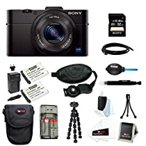 Sony Cyber-shot DSC-RX100M2/B RX100M2 RX100M II RX100MII 20.2MP Wi-Fi Digital Camera Bundle with Sony 32GB Memory Card + Wasabi Power Replacement Battery for Sony DSC-RX1 + Sony Soft Carrying Case + Wrist Grip Strap + Camera Accessories