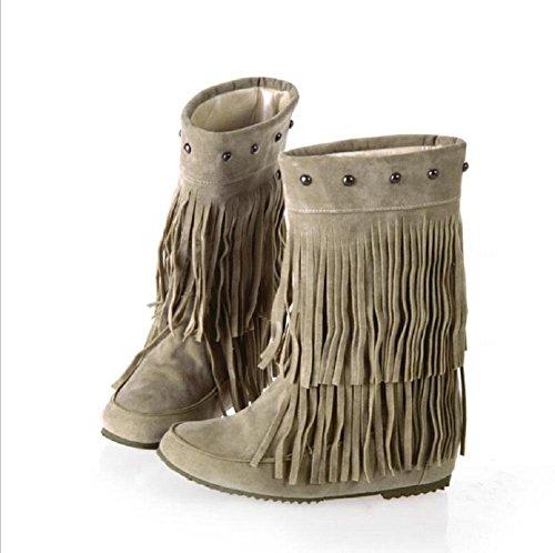 Primavera e autunno frangia ballerine per donna scarpe in pelle scamosciata nappe intorno alla caviglia , beige , 37