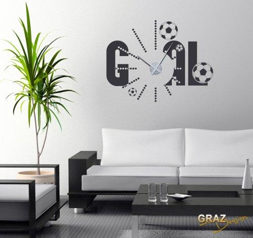 Vinilo de pared decoraci n de pared con reloj f tbol para - Reloj vinilo pared ...