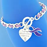 "12 Purple Ribbon ""Together we can make a difference"" Charm Bracelets- Chain Style - Great for Relay for Life Cancer or other Awareness Event Fundraising Fundraiser"