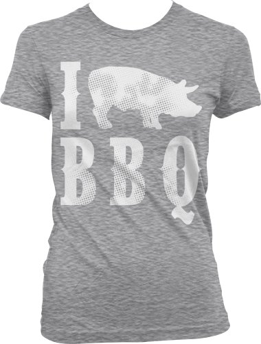 I Love BBQ Ladies Junior Fit T-Shirt, Funny Bar-B-Que I Pig BBQ Design Design Junior'S Tee
