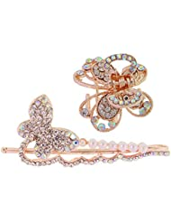 My DT Lifestyle STONE STUDD BUTTERFLY SHAPE CLUTCHER AND METAL HAIR PIN COMBO (WHA9)
