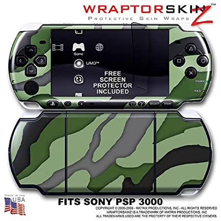 Camouflage Green WraptorSkinz Skin and Screen Protector Kit fits Sony PSP 3000