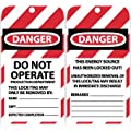 "NMC LOTAG41 ""DANGER - DO NOT OPERATE PRODUCTION DEPARTMENT"" Lockout Tag, Unrippable Vinyl, 3"" Length, 6"" Height, Black/Red on White (Pack of 10)"