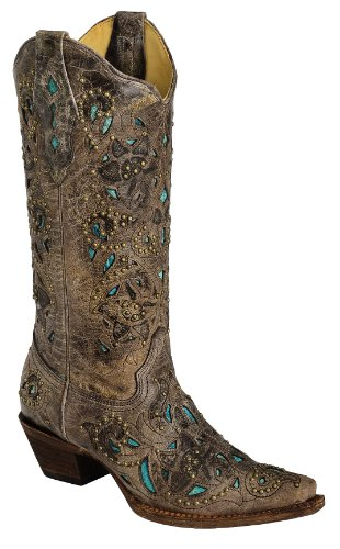 Corral Women's Studded Turquoise Leather Inlay Cowgirl Boot Snip Toe