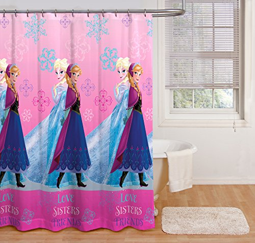 Disney Frozen Snowflake Sisters Shower Curtain New