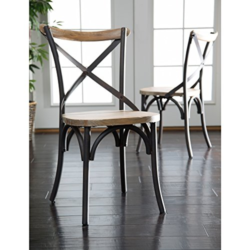 Industrial Reclaimed Solid Wood Dining Chairs, Set of 2 (Dining Chairs Wood compare prices)
