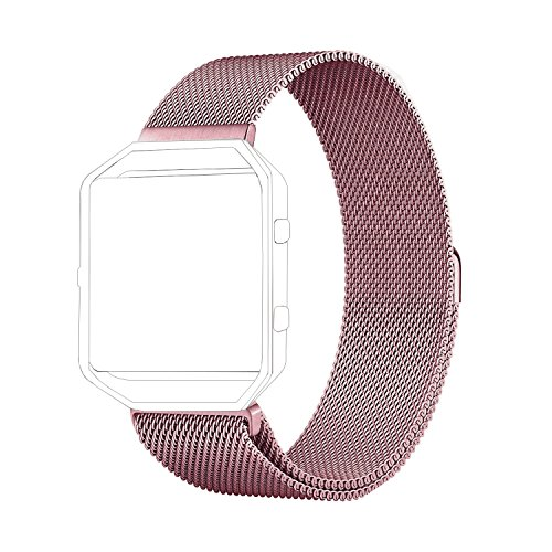 Fitbit Blaze Band Large (6.1-9.3 in), PUGO TOP Milanese Loop Stainless Steel Wristband for Fitbit Blaze Smart Fitness Watch, Large, Rose Gold