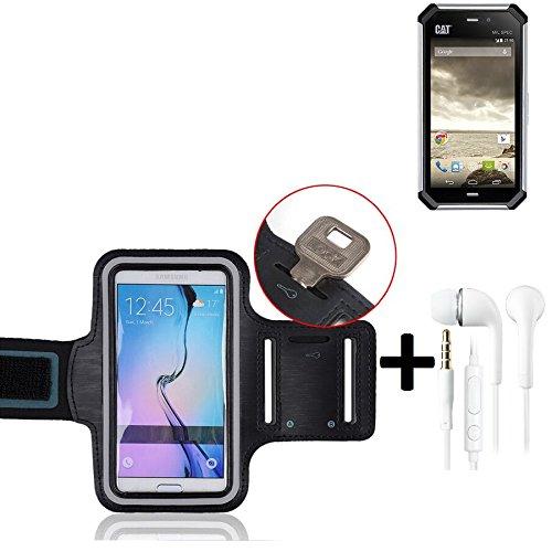 TOP SET: Montare Neoprene Armband Jogging + Headset Custodia / bracciale di sport / Sport Case / Sport / Alta bracciale per Caterpillar Cat S50 in nero, con strisce riflettenti. Universal Fitness fascia da braccio per l''uso esterno del [Produttore] [MODEL]. L''ingresso per le cuffie / auricolari È anche possibile ascoltare la musica durante l''attività fisica con i vostri Caterpillar Cat S50. Nello scomparto chiave pratico portare la chiave di casa sotto sicuro. Braccialetto wristband di a