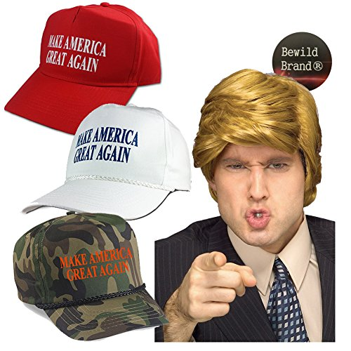 Donald Trump Costume Wig & Hat - Make America Great Again