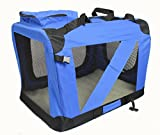 Petown Folding Pet Carrier Crate Soft Kennel-For Dog, Cat, or other small pets , Color Blue (X-Large)
