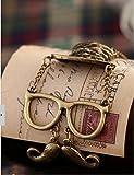 【オシャレアイテム】 レトロな帽子口ひげメガネのネックレス(ゴールド) 巾着袋付き