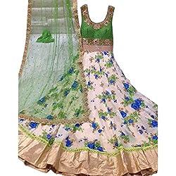 Cozer Creation Bhagalpuri Net Floral Green Cream Dress Material