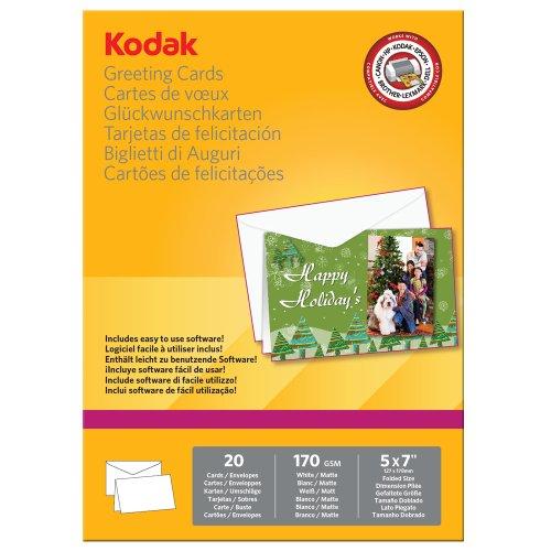 Kodak 5740-017 Carta Fotografica per Stampa Biglietti di Auguri, Superficie Opaca, 170 g/mq, Formato Ripiegato 127x178 mm, Bianco