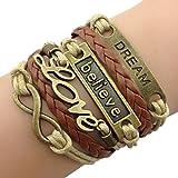 Time Pawnshop Handmade Bronze Dream Believe Love Braided Multilayer Adjustable Leather Bracelet