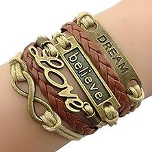 buy Time Pawnshop Handmade Bronze Dream Believe Love Braided Multilayer Adjustable Leather Bracelet