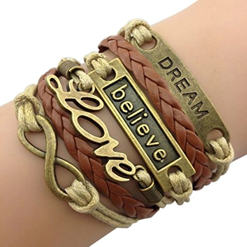 Time Pawnshop Handmade Bronze Dream Believe Love Braided Multilayer Adjustable Leather Bracelet (Brown Girl Seat Covers compare prices)