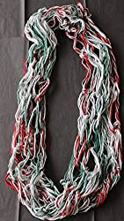 Hand Knitted Infinity Scarf - Red, White, Green
