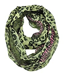 WishCart Women's Infinity Circle Scarves Lightweight Leopard and Zebra Printing -Khaki+Pink