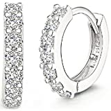 ANDI ROSE Fashion Jewelry 925 Sterling Silver Rhinestones Hoop Diamond Stud Earrings for Women