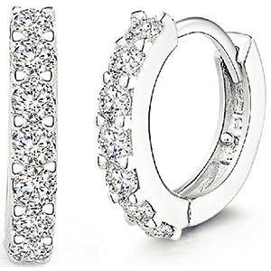 ANDI ROSE Fashion Jewelry 925 Sterling Silver Rhinestones Hoop Diamond Stud Earrings for Women (1061 Silver)