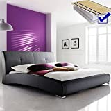 Polsterbett schwarz Bett 180x200 cm + Lattenrost + Matratze Doppelbett Ehebett Kunstlederbett Amadeo