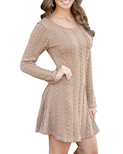 HAPEE Women's Crewneck Knitted Long Sleeve Sweater Dress