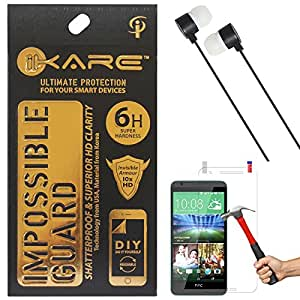 iKare Fiber Glass Screen Protector for HTC Desire 820 + Black Stereo Earphone with Mic