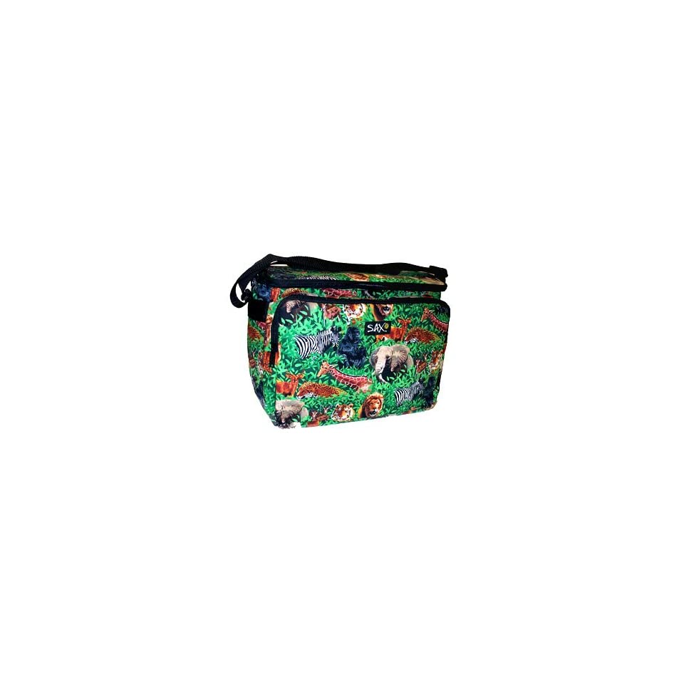 Endangered Species African Safari Animal Insulated Soft Side Large Lunch Picnic Beach Cookout Tailgating Cooler Ice Chest Bag Featuring Lion, Tiger, Elephant, Gorilla, Zebra, Antilope, Giraffe and more jungle wildlife