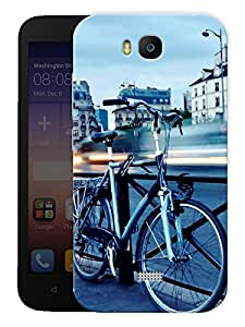 "Humor Gang Cycle On A Bridge Printed Designer Mobile Back Cover For ""Huawei Honor Bee"" (3D, Matte, Premium Quality Snap On Case)"