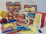 Disney Pixar Cars Birthday Party Kit (11 item Bundle)- Decoration Kit, Stickers, Yazzles Light Up, Treat Sacks, Balloons, Streamers, Cups, Plates, Napkins, Tablecover, & Utensils