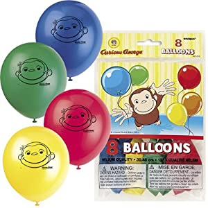 "Curious George 12"" Latex Balloons (8 count) from Unique Industries"