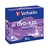 "Verbatim DVD+R Rohlinge 8x Double Layer 8,5GB Jewel Case 5er Pack kratzfestvon ""Verbatim"""