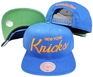 New York Knicks Solid Blue Script Plastic Snapback Adjustable Plastic Snap Back Hat... by Mitchell & Ness