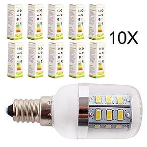 ELINKUME 10 x E14 LED 5W Corn Light Bulbs 24*5730 SMD Energy Saving Lamp Bulb With Cover,Warm White by ELINKUME