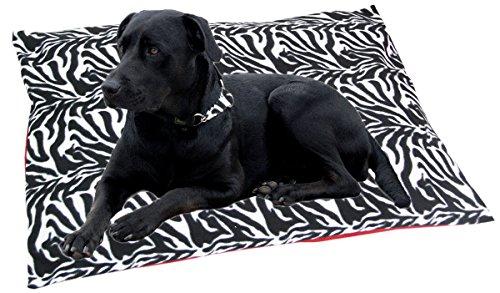 Hundekissen-Hundebett-90-x-70-cm-Liegekissen-eckig-Kuschelbett-Zebra