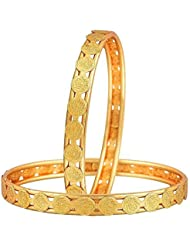 Meenaz Laxmi Coin Temple Jewellery Gold Plated Bangles For Womens And Girls Bangles Of 2 Sets BA121