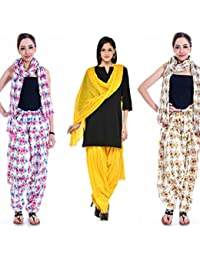 Om Prints Multi Colour Women's Patiala And Dupatta Set Of 3 ( Free Size)