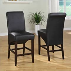 Modus Furniture International 2-Pack Cosmo Sleigh Back Stool, Jet Black