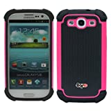 Bayke Brand for Samsung Galaxy S3 SIII i9300 Two Layer Armored Hybrid Cover Case with Inner Soft Shell (Crazy Pink)
