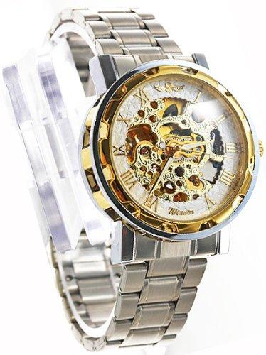 ・メンズ フルスケルトン自動巻き腕時計 紳士用腕時計 男性用腕時計 ゴールド&ホワイト