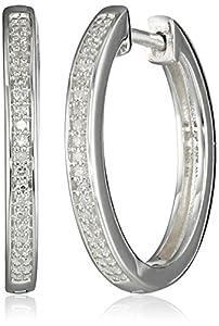 Women's Sterling Silver Round Diamond Oval Shape Hoop Earrings (.12 cttw, I-J Color, I2 Clarity)