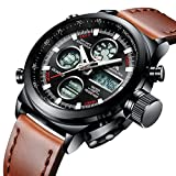 Mens Sports Watches Men Military Waterproof Big Face Analogue Digital Brown Leather Band Wrist Watch