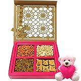 Jumbo Celebration Of Dry Fruits And Baklava With Teddy - Chocholik Chocolate Premium Gifts