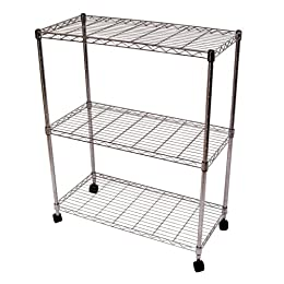 Product Image Seville Classics Chrome Mobile 3 Shelf Storage Unit