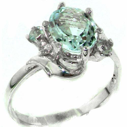 Luxury Solid Sterling Silver Large 9x7mm Natural Aquamarine Ladies Ring - Size 11.75 - Finger Sizes 5 to 12 Available - Suitable as an Anniversary ring, Engagement ring, Eternity ring, or Promise ring