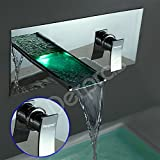 Derpras LED Bathroom Faucet,Sink Faucet,3 Colors Changing,Deck Mount,Water Power,Hot/Cold Kitchen Basin Mixer Tap,Lavatory vanity Waterfall Faucets with Temp Sensor & LED Light (Finish Chrome)